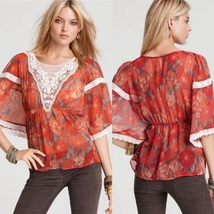 Free People Pale Red Daydreamer Lace Blouse